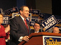 Huckabee giving a speech following the South Carolina 2008 Presidential Primary in Columbia, SC