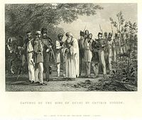 Capture of Bahadur Shah Zafar and his sons by William Hodson at Humayun's tomb on 20 September 1857.