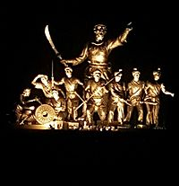 35-feet-high statue of Ahom general Lachit Borphukan, known for his leadership in the 1671 Battle of Saraighat, and his army in the middle of the Brahmaputra river.