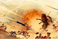A painting showing the Mysorean army fighting the British forces with Mysorean rockets, which used metal cylinders to contain the combustion powder.<ref>{{cite news|title=Missiles mainstay of Pak's N-arsenal|url=http://articles.timesofindia.indiatimes.com/2008-04-21/india/27784965_1_cruise-missile-missile-program-hatf-viii|work=The Times of India|access-date=2011-08-30|date=21 April 2008}}</ref>