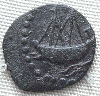 Indian ship on lead coin of Vasisthiputra Sri Pulamavi, testimony to the seafaring and naval capabilities of the Satavahanas during the 1st–2nd century CE.