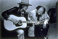 Bob Dylan with Allen Ginsberg on the Rolling Thunder Revue in 1975. Photo: Elsa Dorfman