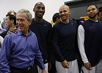Kidd (third from left) with U.S. President George W. Bush, Kobe Bryant, and Deron Williams at the 2008 Olympics