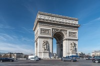 The Arc de Triomphe, ordered by Napoleon in honour of the Grande Armée, is one of several landmarks whose construction was started in Paris during the First French Empire.