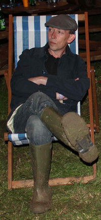 Lamacq backstage at the Glastonbury Festival's BBC Introducing Stage in 2011