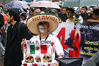 Demonstration on 26 September 2015, in the first anniversary of the disappearance of the 43 students in the Mexican town of Iguala