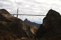 The Baluarte Bridge is the highest cable-stayed bridge in the world, the fifth-highest bridge overall and the highest bridge in the Americas.