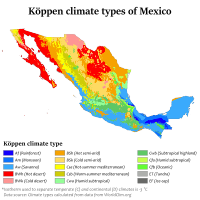 Mexico map of Köppen climate classification