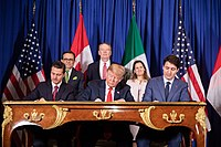 President Enrique Peña Nieto, President Donald Trump, and Prime Minister Justin Trudeau sign the United States–Mexico–Canada Agreement during the G20 summit in Buenos Aires, Argentina, on November 30, 2018.