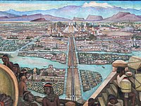 1945 Mural by Diego Rivera depicting the view from the Tlatelolco markets into Mexico-Tenochtitlan, the largest city in the Americas at the time.