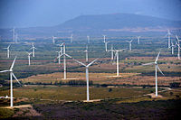 The Central Eólica Sureste I, Fase II in Oaxaca. The Isthmus of Tehuantepec is the region of Mexico with the highest capacity for wind energy. (see Tehuantepecer, a strong wind that affects the region)