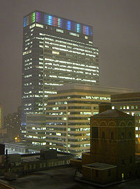 Target Plaza South, a portion of the Target Corporation headquarters complex in downtown Minneapolis, United States: The building originally featured the Target Light System, created by using 3M light pipes, but was replaced by more energy-efficient LEDs in 2011.