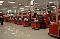 Cash registers inside the now-closed Target (a former Zellers, later Lowe's that opened in 2016 and closed in 2019 and is now Canada Computers) in Toronto, Ontario, Canada