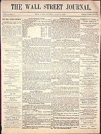 Front page of the first issue of The Wall Street Journal, July 8, 1889