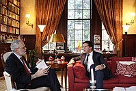 Mark Rutte, prime minister of the Netherlands, being interviewed by the Journal