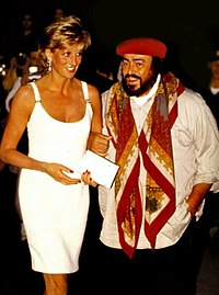 Pavarotti welcomes Diana, Princess of Wales, in Modena during the 1995 Pavarotti & Friends