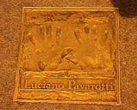 Handprint of Luciano Pavarotti in front of the Gaiety Theatre, Dublin