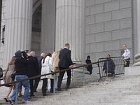 Kesha arriving at the New York Supreme Court in lower Manhattan for proceedings in a lawsuit against Dr. Luke, February 19, 2016