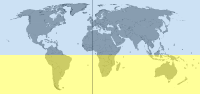 The Southern Hemisphere highlighted in yellow. The hemispheres appear to be unequal in this image because Antarctica is not shown and the equator slightly too low, but in reality are the same size.