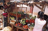 A market stall selling vegetables in Dinguiraye Prefecture, Guinea