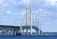 The Mackinac Bridge, a suspension bridge spanning the Straits of Mackinac to connect the Upper and Lower peninsulas of Michigan