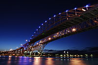 The Bluewater Bridge, a twin-span bridge across the St. Clair River that links Port Huron and Sarnia, Ontario