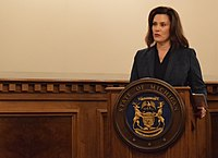 Governor Gretchen Whitmer (D) speaking at a National Guard ceremony in 2019