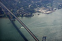 The Ambassador Bridge, a suspension bridge that connects Detroit with Windsor, Ontario, in Canada. It is the busiest international border crossing in North America in terms of trade volume.