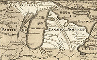 Approximate area of Michigan highlighted in Guillaume de L'Isle's 1718 map