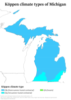 Michigan has a continental climate, as most places in the American Midwest, the American Northeast and the southern part of Central Canada. Pictured is the Köppen climate classification of Michigan.