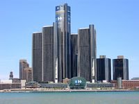 Michigan is the center of the American automotive industry. The Renaissance Center in Downtown Detroit is the world headquarter of General Motors.