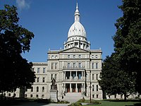 The Michigan State Capitol in Lansing houses the legislative branch of the government of the U.S. state of Michigan.