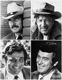 The NBC Mystery Movie program worked on a rotating basis – one per month from each of its shows. Top left: Dennis Weaver in McCloud. Top right: Richard Boone in Hec Ramsey. Bottom left: Peter Falk in Columbo. Bottom right: Rock Hudson in McMillan & Wife