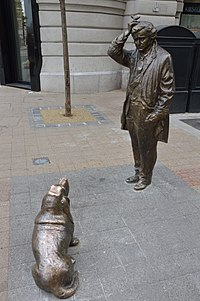 Peter Falk statue as Columbo with his dog in Budapest, Hungary