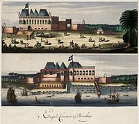 Two views of the English fort in Bombay, c. 1665