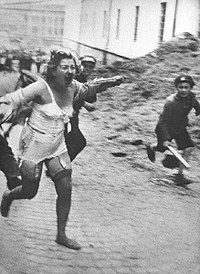 Jewish women were stripped, beaten and raped in Lwów, eastern Poland (later Ukraine), during the Lviv pogroms, July 1941.
