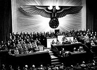 11 December 1941: Adolf Hitler speaking at the Kroll Opera House to Reichstag members about war in the Pacific.