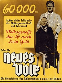 """The poster (c. 1937) reads: """"60,000 RM is what this person with hereditary illness costs the community in his lifetime. Fellow citizen, that is your money too. Read Neues Volk, the monthly magazine of the Office of Racial Policy of the Nazi Party."""""""