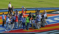 Edwards celebrating after clinching the 2007 Busch Series Championship after the fall Texas race