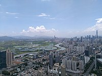 Luohu viewing southwest, with Shenzhen River and Hong Kong's Frontier Closed Area in the background