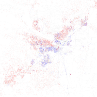Map of racial distribution in Little Rock, 2010 U.S. Census. Each dot is 25 people: White, Black, Asian , Hispanic or Other (yellow)