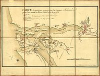 A 1778 French military map showing the positions of generals Lafayette and Sullivan around Narragansett Bay on August 30.