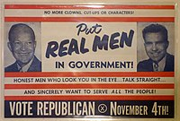 Dwight D. Eisenhower and Richard Nixon, 34th and 37th Presidents of the United States (1953–1961; 1969–1974), featured on a campaign poster for the 1952 presidential election