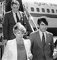 Governor Dukakis with Boston Mayor Raymond Flynn and Democratic vice-presidential nominee Geraldine Ferraro campaigning in the 1984 presidential election.