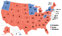 The 1988 election with electoral votes by state.
