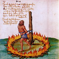 The burning of Jakob Rohrbach, a leader of the peasants during the German Peasants' War.
