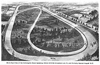 An early rendering of a combined road course layout, ca. 1909.