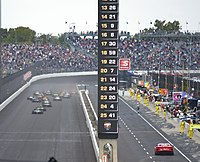 The field races into turn 1 at the start of Race 2 of the 2020 Harvest GP.