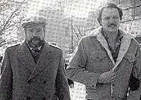 Larry Eyler (right), seen here with his lawyer, David Schippers, on the date of his release from custody. February 6, 1984
