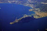Aerial view showing the Rock of Gibraltar, the isthmus of Gibraltar and the Bay of Gibraltar.